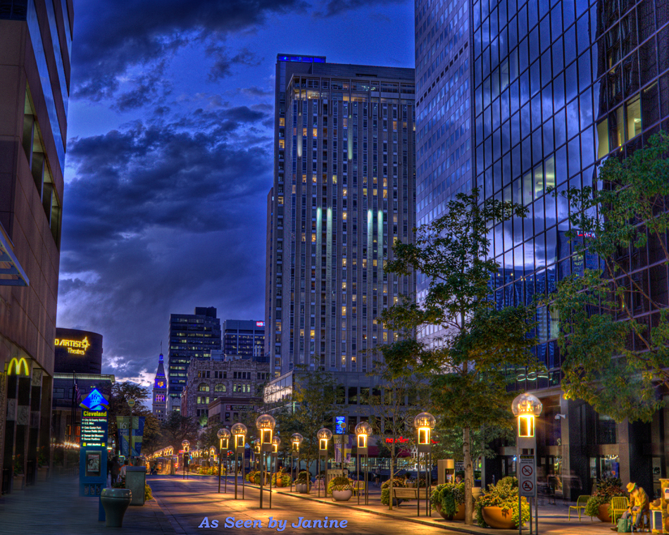 Denver's 16th Street Mall at Twilight