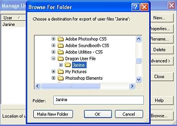 Choose Folder for Export of User Files
