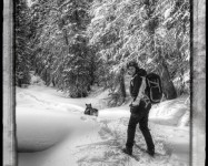 Kiah HIkes Along XC Skiing with Lowepro Photo Sport 200 AW Pack