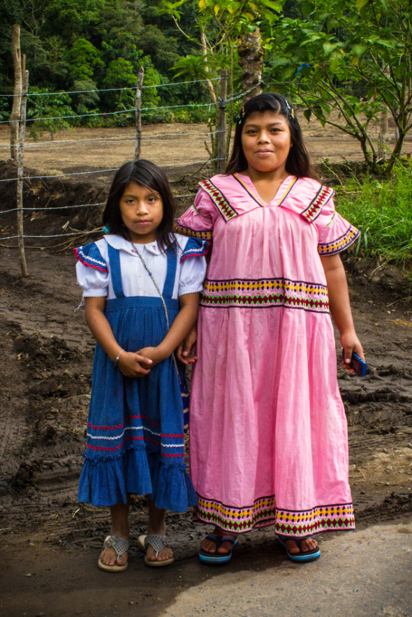 Local Girls in Traditional Dress - Vulcan, Chiriqui, Panama