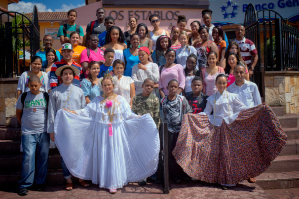 Panamanian Locals Including Traditional La Pollera Dresses