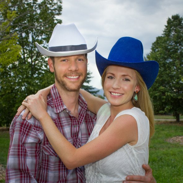 Eric and Steph Cowboy Hats Engagement Photo