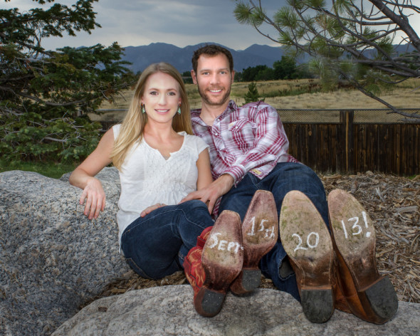 Eric and Steph Engagement Photo With Wedding Date on Boot Bottoms