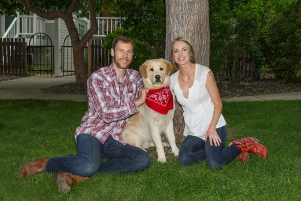 Eric, Baker, and Steph Family Engagement Portrait