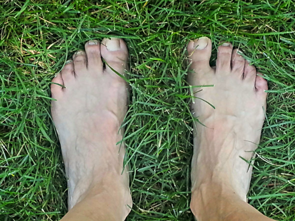 Barefoot Yoga in the Grass Helps Ground, Center and Focus Before Writing