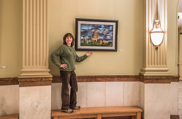 Janine With Artwork in Capitol Rotunda - Photographed by Andy Schwartz