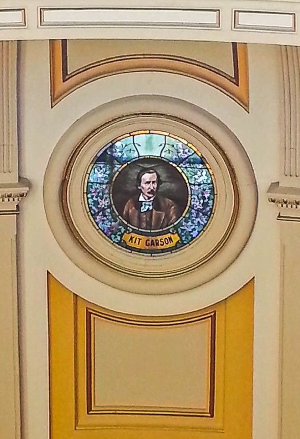 Stained Glass of Kit Carson in the Dome as Viewed from Mr. Brown's Attic