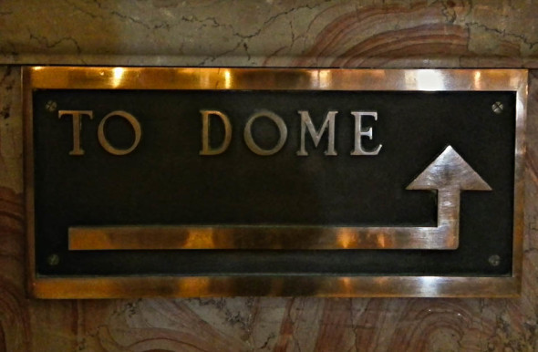 To Dome Brass Sign